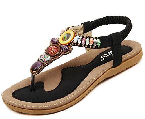 NewYork Offer Shop Strap Sandals for Women Plus Size Boho Bohemian (Retro Black, 12 B(M) US/44EU)