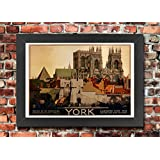 TX54 Vintage 1920's York Yorkshire LNER British Railway Travel Tourism Advertisement Framed Poster Print Re-Print - A3