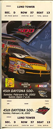 Daytona 500 Tickets (Daytona 500 NASCAR Unused Ticket 2/16/2003-Lund Tower-NASCAR-NM)
