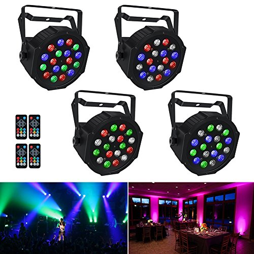 Stage Lights, LaluceNatz 18x1W RGB LED Par Lights for Wedding Church Stage Lighting by Power Linking, IR Remote DMX and Sound Activated (4pcs)