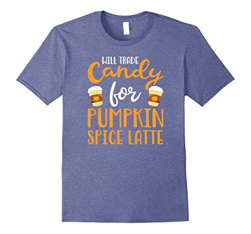 Mens Will Trade Candy for Pumpkin Spice Latte T Shirt XL Heather Blue