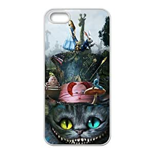 iPhone 5S case - [Alice in Wonderland Series] case for Apple iPhone 5 5S case rubber TPU cover case (Black/white)