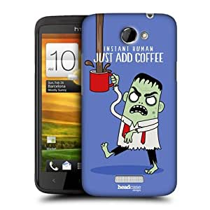 Head Case Designs Just Add Coffee Office Blues Protective Snap-on Hard Back Case Cover for HTC One X by ruishername