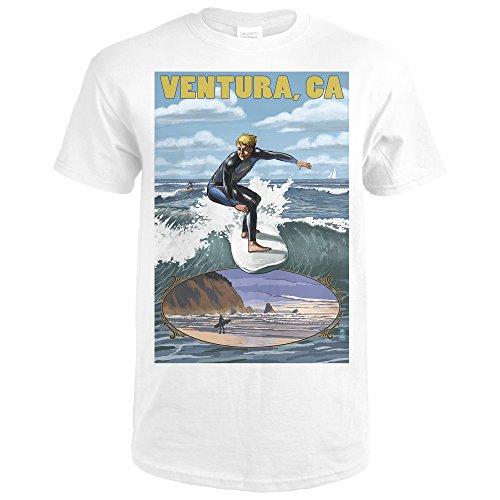 Ventura  California   Surfing Inset  Premium White T Shirt Xx Large