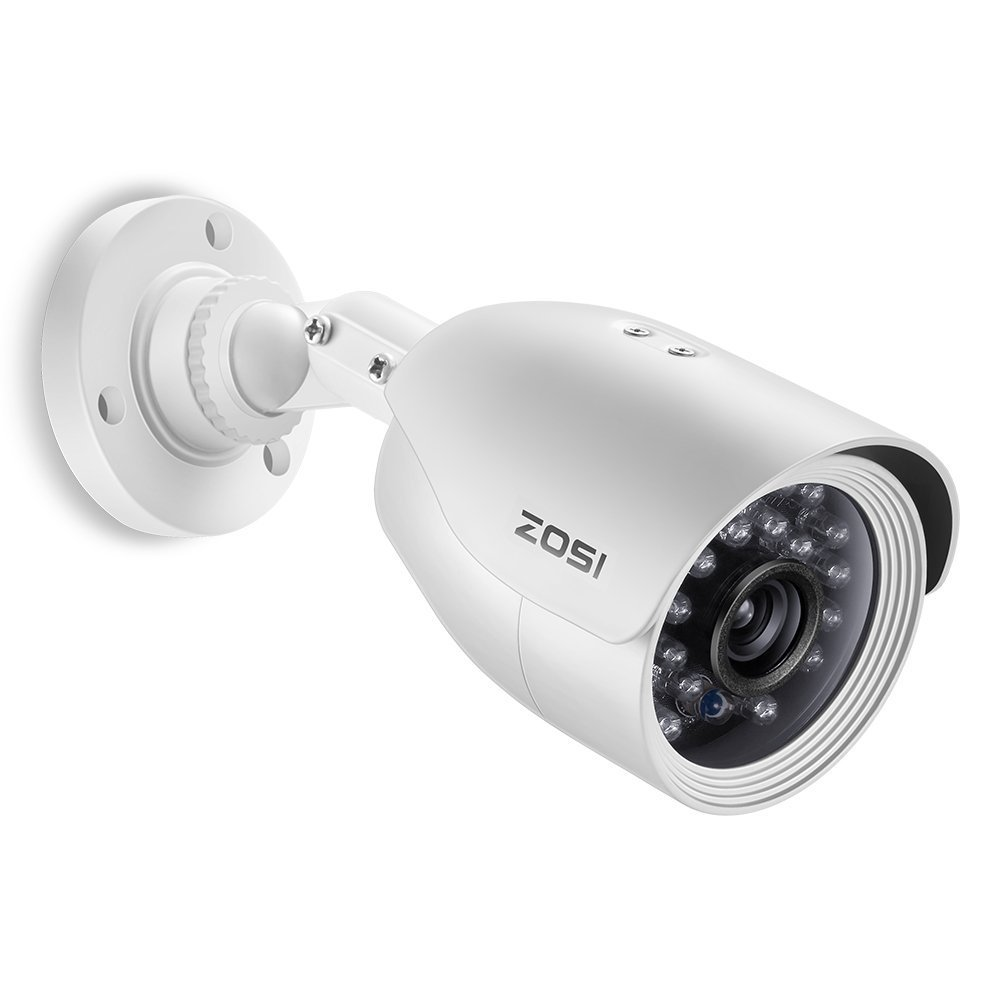 ZOSI 1.0MP HD 720p 1280TVL Outdoor/Indoor Surveillance Bullet Camera (Quadbrid 4-in-1 HD-CVI/TVI/AHD/960H Analog CVBS),24PCS LEDs,65ft IR Night Vision, Weatherproof Security Camera
