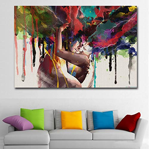 (Faicai Art Colorful Abstract Pop Art Women and Men Banksy Graffiti Paintings Wall Art Canvas Prints Posters Couple Huging Wall Decor Pictures for Living Room Home Office Decor Framed 32