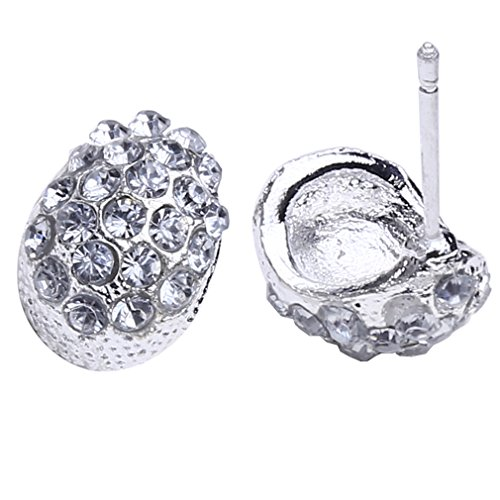Iumer Vintage Full Crystal Crescent Stud Earrings Silver Color Shining Stud by IumerIU (Image #2)