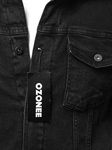 Jeans Nero b Giacca Stagione fit Casual Uomo Mezza Denim Vintage Ozonee B Primavera 052 Moderno Di Felpa Sportivi Sportivo 052 In Ozonee Abbigliamento Slim wRt5x