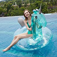Myir Flotador Inflable del Unicornio Transparente, Gigante Colchoneta Hinchable con Lentejuelas para Piscina Hinchables Juguete Adultos Niños Agua ...
