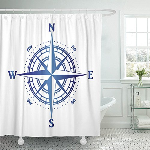 Emvency Shower Curtain Waterproof Black Cartography of Compass Rose Map Adventure Aiming Degree Direction East Polyester Fabric 72 x 72 Inches Set With Hooks