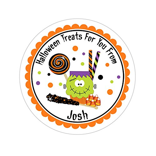 Personalized Customized Halloween Party Favor Thank You Stickers - Cupcake and Candy - Round Labels - Choose Your Size ()