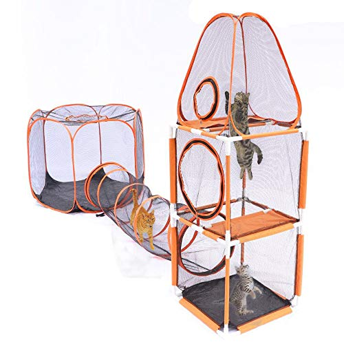 - DAPU 3 in 1 Compound Pet Play House - 3-Levels of Jumping Tower & Hexagon Tent & 1 Tunnel,Pop Up Folding Enclosure Playpens,for Cat,Kitty,Dog,Puppy,Rabbit