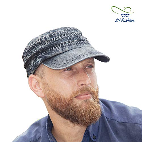 2NFashion Army Military Cap for Men Denim Material, Adjustable Size Flat Brim Top Hats Ideal for Driving Picnic Travel Or Any Outside Activities