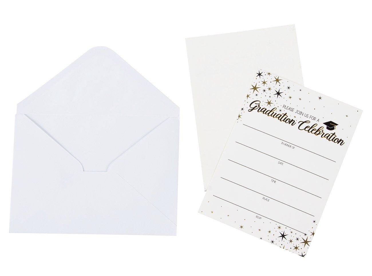 60-Pack Graduation Party Invitations - Graduation Invitations Cards, Graduation Ceremony Announcement Cards, 2018 Graduation Party Favors, Envelopes Included, White, 5 x 7 Inches