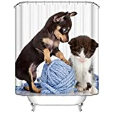 Animal Themed Shower Curtain Cute Lovely Dog and Cat New Style Modern Art Bathroom Decor Set with Hooks Waterproof Fabric Print (White, 70Wx70L)