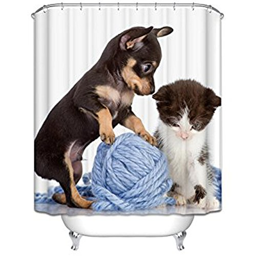 Animal Themed Shower Curtain Cute Lovely Dog and Cat New Style Modern Art Bathroom Decor Set with Hooks Waterproof Fabric Print (White, 70Wx70L) by QCWN