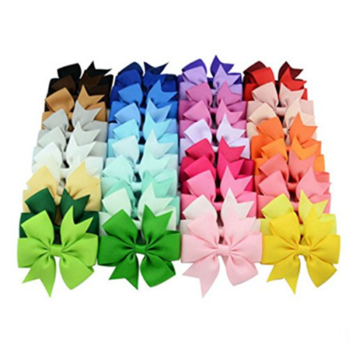 Price comparison product image 20 Pcs 3 inch Grosgrain Ribbon Pinwheel Boutique Hair Bows Clips For Baby Girls Teens Toddlers Kids Children