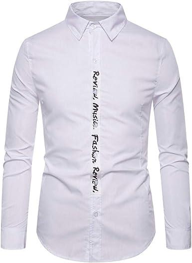 Camisas De Vestir Casual para Hombre, Morbuy Moda Carta Impresa Camisa De Manga Larga Slim Fit con Cuello Abotonado Camisas Color Sólido: Amazon.es: Ropa y accesorios