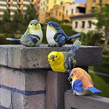 Treasure-House 6 pcs Resin Birds Set Creative Kingfishers Ornaments Garden Birds Vivid Decorations for Garden View Home Livingroom Decoration Color randomization