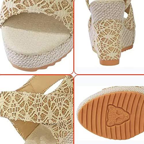 Sexy Scarpe Scarpe Toe Donna Zeppa Open Design Signora Charming con in alla Testa Alti Sandali Pesce Pizzo Tacchi da Estate Moda di rn1xqCrfw