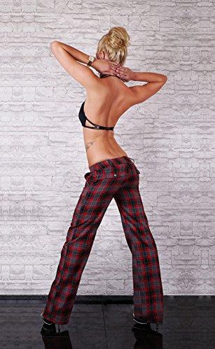 Sexy Classic Bootcut pantalones nuevo y elegante oficina pantalones tamaño UK 6, 8, 10, 12, 14–Tamaño EU 34, 36, 38, 40, 42 Checkered / Red