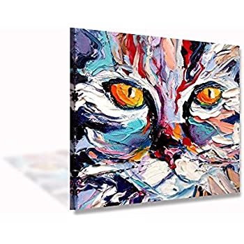VV ART Colorful Cat Abstract Painting Modern Canvas Wall Art Picture Home  Decoration Living Room Canvas