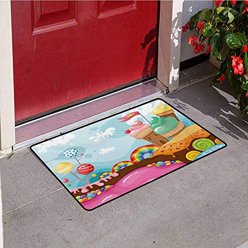 (Jinguizi Ice Cream Welcome Door mat Dessert Land with Rainbow Candies Lollipop Trees and Cupcake Mountains Cartoon Door mat is odorless and Durable W35.4 x L47.2 Inch Multicolor)