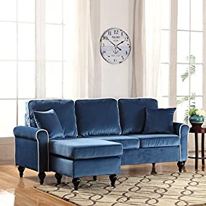 Amazoncom classic and traditional small space velvet for Small sectional sofa amazon