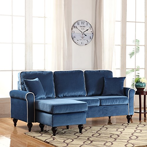Divano Roma Furniture Classic and Traditional Small Space Velvet Sectional Sofa with Reversible Chaise (Blue) (Sofas Small Sectional)
