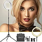 [Updated 720LED LCD Display] 18 Inch Led Ring Light w/Stand for Camera iPhone, 3200-5600K Dimmable Warm/White Video Light, USB Power Output, Camera Phone Holder & Carrying Case for Studio Makeup