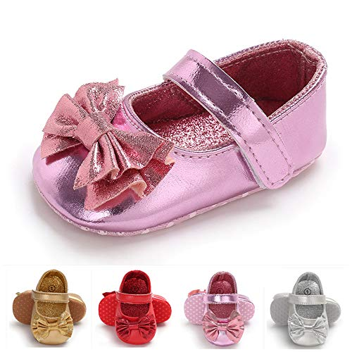 Baby Girls Mary Jane Flats Sparkly Princess Dress Shoes Soft Sole Non-Slip Toddler First Walkers ()
