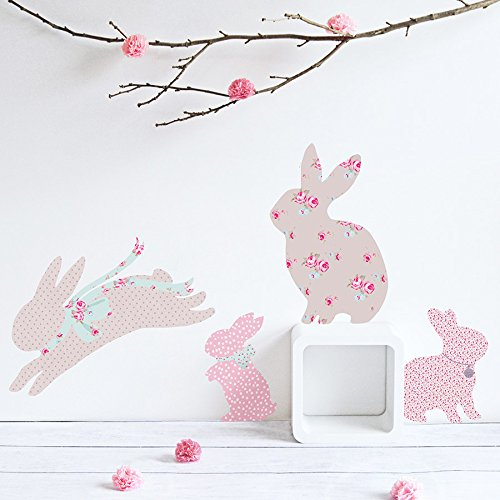 - Koko Kids Vintage Floral Rabbit Wall Decals ~ for baby nursery and children's rooms. Made of fabric, not vinyl, free from BPA & Phthalates. (Small)