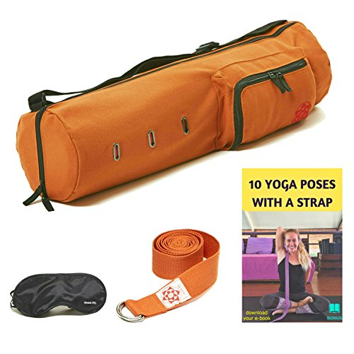 Yoga Mat Carrier Bag for Men & Women, Yoga Mat Sling, Full Zip for Easy Access & Storage Pockets Yoga Mat Bag, Washable & Sturdy Cotton Canvas