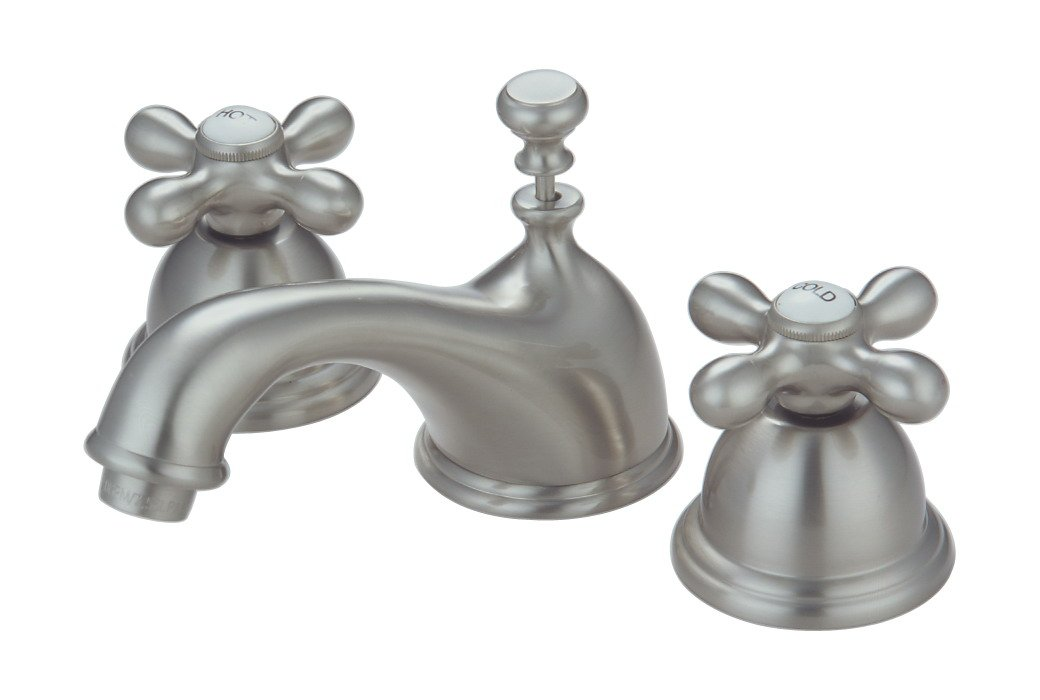 8'' Widespread Lavatory Faucet, Satin Nickel Finish, Chopin Series - Plumb USA