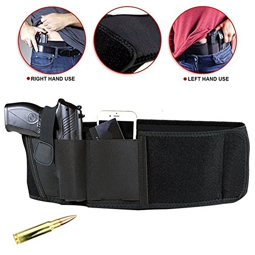 Concealed Carry Gun Holster, Binrrio Neoprene Waist Band Handgun Carrying System with Magazine Pocket/Pouch For Men and Women,Fits Glock, Ruger, Sig Sauer