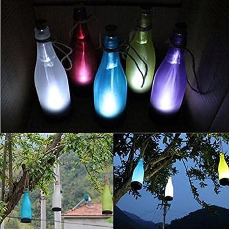 Winterworm Juego de 5 funciona con energía solar botella de Multicolor con cuerda de cáñamo lámpara colgante de luz para casa y jardín al aire libre fiesta ...