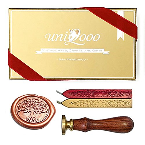 UNIQOOO Arts & Crafts Vintage Tree of Life Wax Seal Stamp Kit- Rosy Red & Royal Gold Wax Sticks with Wicks- Exceptional Gift Idea for Artistic Types, Earthy Folks, and Everyone In-between (Craft Tree Kit)