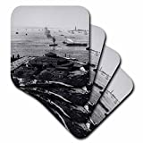 3D Rose New York Harbor Glass Magic Lantern Statue of Liberty Steam Ships Soft Coasters, Multicolor