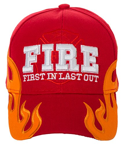 First in Last Out Fire Rescue Flames Baseball Cap with Adjustable Strap (Red) ()