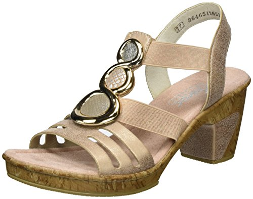 Rieker Women's 69752 Closed Toe Sandals, Multicoloured, 5 UK Multicolour (Rose/Fango-silver/Nude/Altsilber / 31 31)