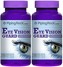 Piping Rock Lutein Bilberry Eye Vision Guard + Zeaxanthin 2 Bottles x 200 Quick Release Softgels Dietary Supplement