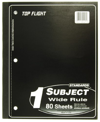- Top Flight Standards 1-Subject Notebook, 80 Sheets, Perforated, 3-Hole Punched, Wide Rule, 10.5 x 8.5 Inches, 1 Notebook, Color May Vary (41180)