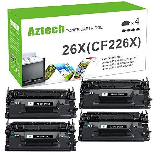 Aztech Compatible Toner Cartridge Replacement for HP 26X CF226X 26A CF226A (Black 4 - Compatible Ink Cartridges 28