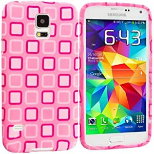 Accessory Planet(TM) Pink Squares TPU Design Soft Rubber Case Cover Accessory for Samsung Galaxy S5 wangjiang maoyi