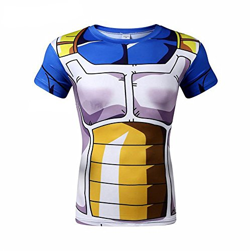 Anime Dragon Ball Z Vegeta Slim T Shirt Short Sleeve Cosplay Shirt Adult