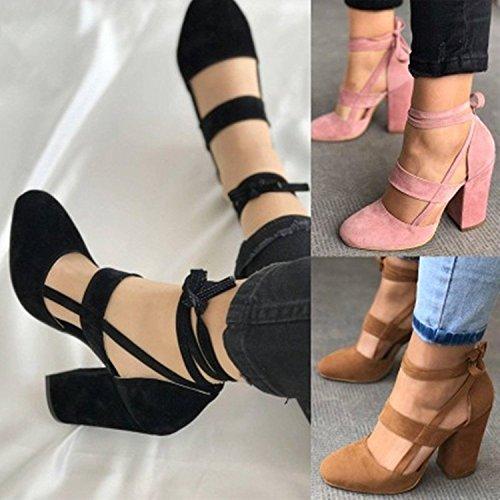 Femme Heels Talon Carrés Noir Sandales Cuir Sexy Sandales Unie High Daim Lacées Couleur Hautes Chaussures Eté Minetom w6AqRIn