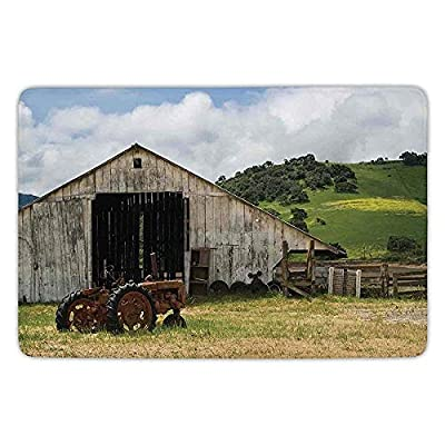 K0k2t0 Bathroom Bath Rug Kitchen Floor Mat Carpet,Farm House Decor,Old Wooden Barn Rusted Tractor on Hillside Enclosed Wooden Fence Trees,Green White,Flannel Microfiber Non-Slip Soft Absorbent