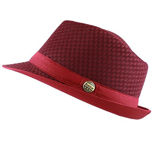 THE HAT DEPOT 200G1015 Light Weight Classic Soft Cool Mesh Fedora Hat (L/XL, Burgundy)