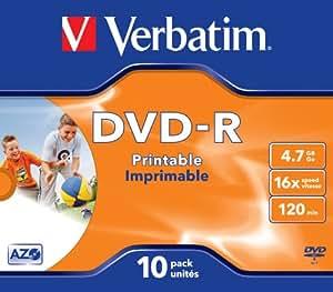 Verbatim Dvd-R 4,7 Gb / 120 Min / 16X Jewel Case (10 Discos) Datalifeplus, De Inyección De Tinta Para Imprimir, Blanco Photo Sur