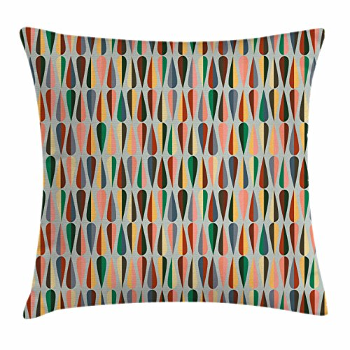 Mid Century Throw Pillow Cushion Cover by Ambesonne, Simple Two Colored Drop Shapes Grid Symmetrically Lined on Grey Background, Decorative Square Accent Pillow Case, Multicolor 51UxxxHaZ 2BL